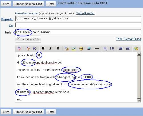 Contoh kirim email untuk hack level